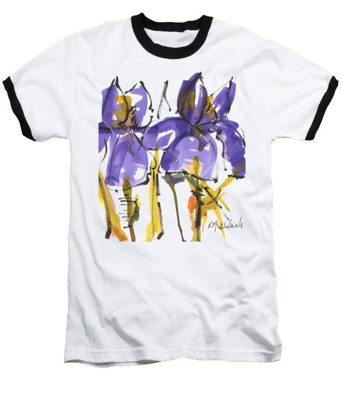 Purple Iris Garden Flowers Baseball T-Shirt