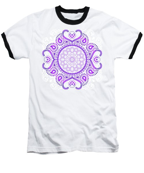 Purple Lotus Mandala Baseball T-Shirt by Tammy Wetzel
