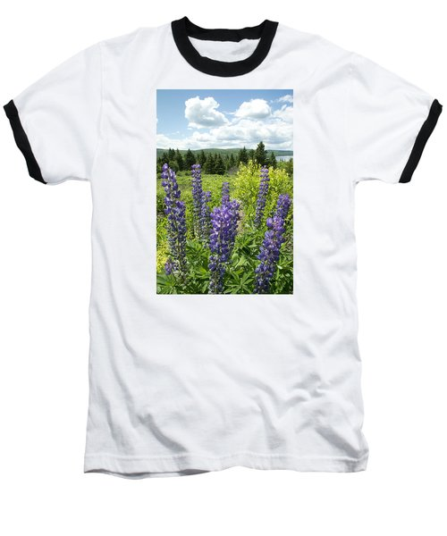 Purple Lupines Baseball T-Shirt by Paul Miller