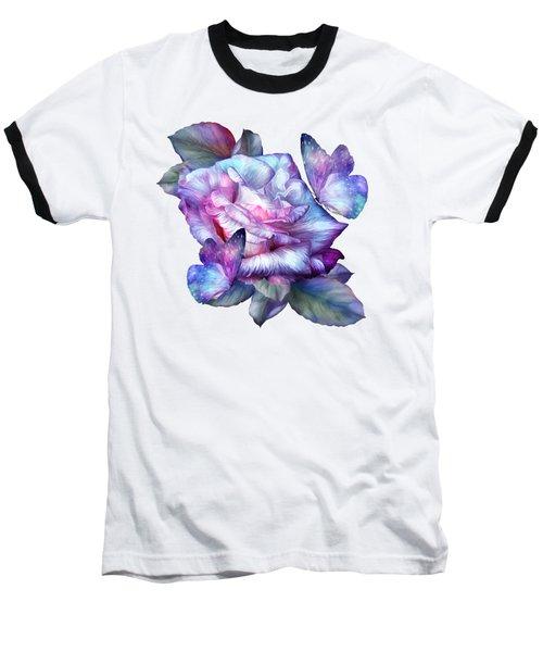 Purple Rose And Butterflies Baseball T-Shirt by Carol Cavalaris