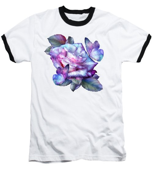 Purple Rose And Butterflies Baseball T-Shirt