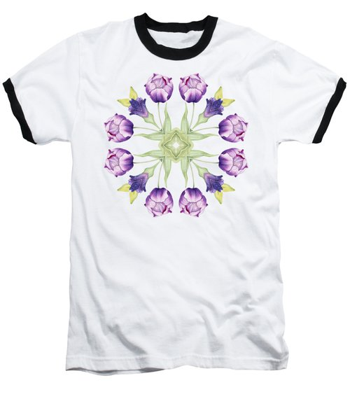 Purple Tulip Mandala Baseball T-Shirt
