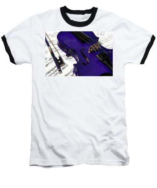 Purple Violin And Music V Baseball T-Shirt