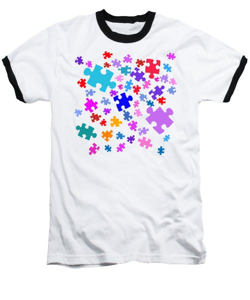 Puzzle Pieces Baseball T-Shirt by Bill Owen
