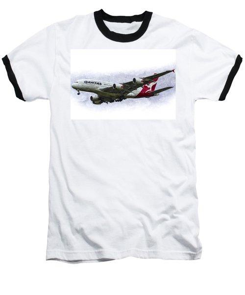 Qantas Airbus A380 Art Baseball T-Shirt