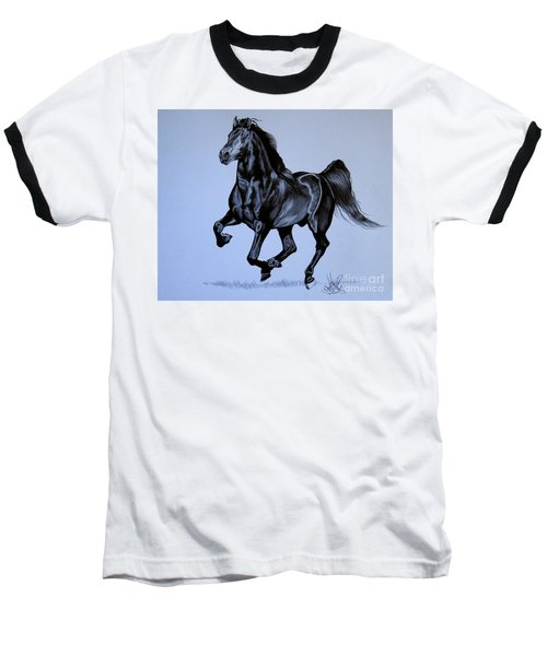 The Black Quarter Horse In Bic Pen Baseball T-Shirt by Cheryl Poland
