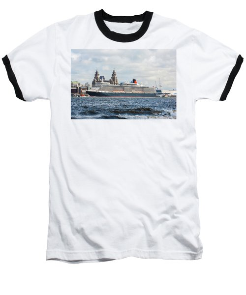 Queen Elizabeth Cruise Ship At Liverpool Baseball T-Shirt