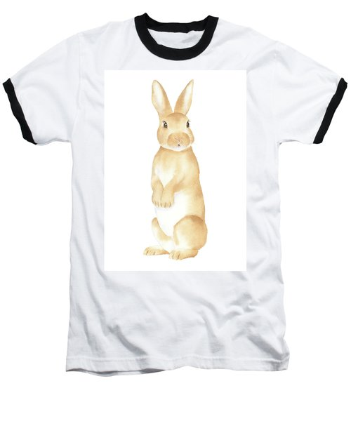 Rabbit Watercolor Baseball T-Shirt by Taylan Apukovska