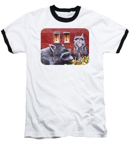 Raccoons Baseball T-Shirt by Ethna Gillespie