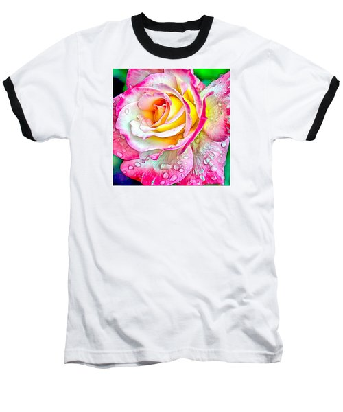 Baseball T-Shirt featuring the digital art Radiant Rose Of Peace by Charmaine Zoe