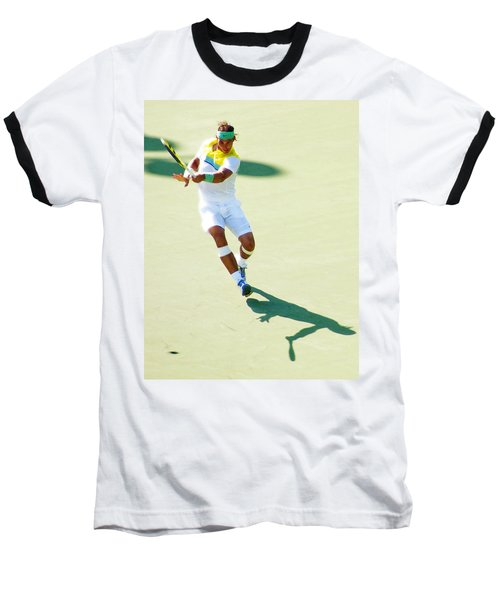 Rafael Nadal Shadow Play Baseball T-Shirt by Steven Sparks
