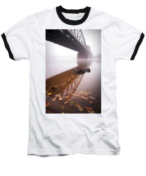 Railway Bridge During Foggy Morning In Prague, Czech Republic Baseball T-Shirt
