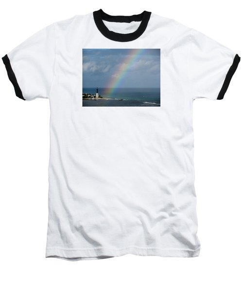 Rainbow At Lighthouse Baseball T-Shirt