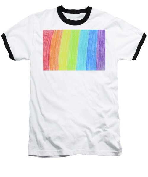Rainbow Crayon Drawing Baseball T-Shirt by GoodMood Art