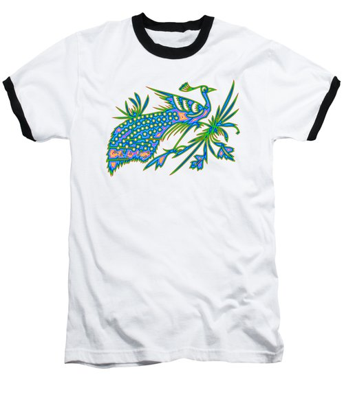 Baseball T-Shirt featuring the digital art Rainbow Multicolored Peacock On A Branch by Rose Santuci-Sofranko