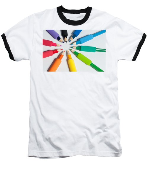 Rainbow Of Crayons Baseball T-Shirt
