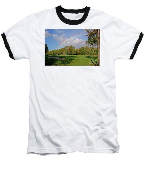 Rainbow Over # 6 Baseball T-Shirt by Butch Lombardi
