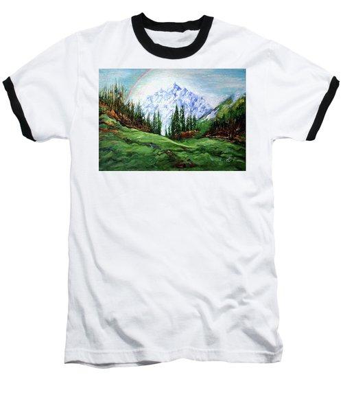 Rainbow Over The Snow Covered Mountain Baseball T-Shirt