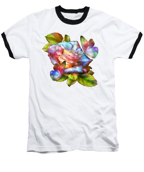 Rainbow Rose And Butterflies Baseball T-Shirt by Carol Cavalaris