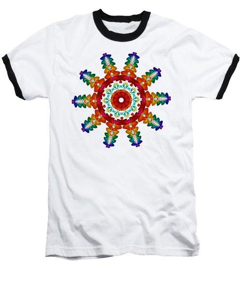 Rainbow Steampunk Sun Fractal Baseball T-Shirt