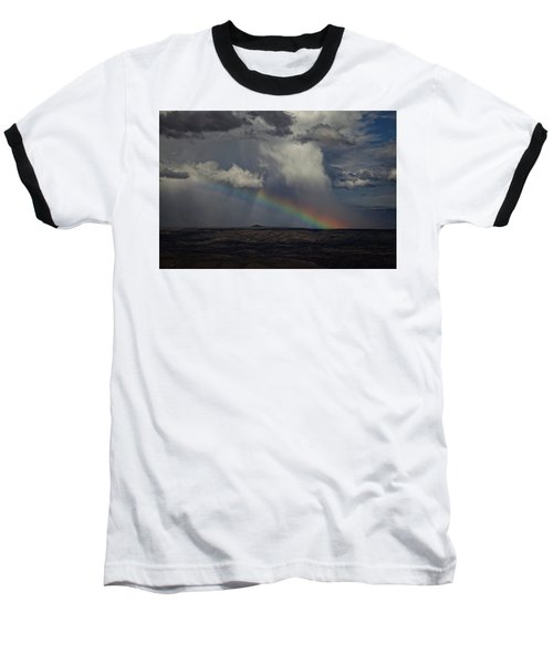 Rainbow Storm Over The Verde Valley Arizona Baseball T-Shirt by Ron Chilston