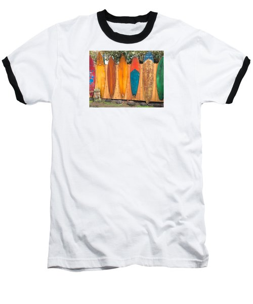 Surfboard Rainbow Baseball T-Shirt by Brenda Pressnall