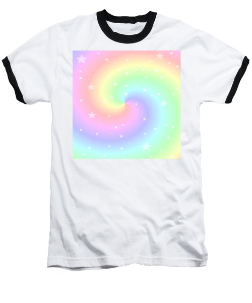 Rainbow Swirl With Stars Baseball T-Shirt