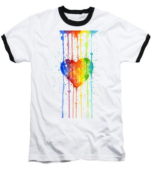Rainbow Watercolor Heart Baseball T-Shirt