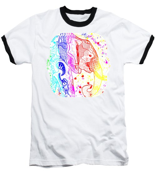 Rainbow Zentangle Elephant Baseball T-Shirt
