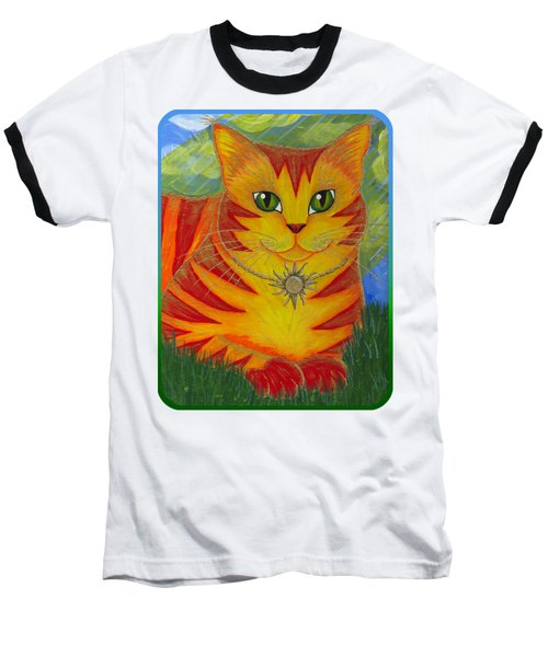 Rajah Golden Sun Cat Baseball T-Shirt by Carrie Hawks