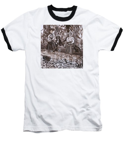 Baseball T-Shirt featuring the painting Ranch Women Picking Berries Historical Vignette by Dawn Senior-Trask
