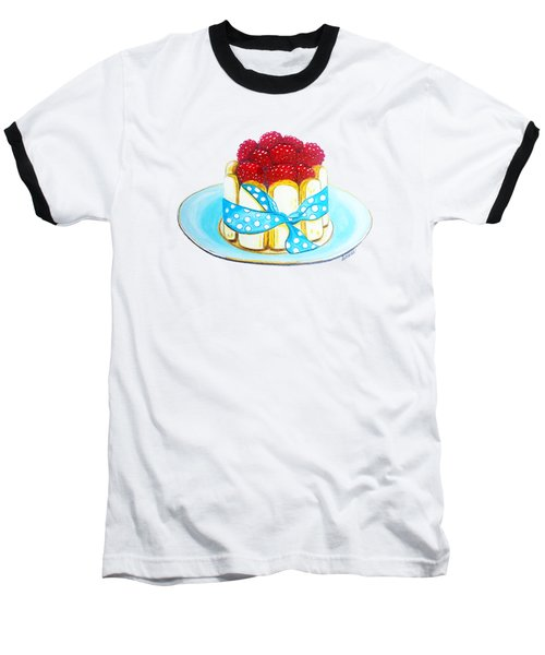 Raspberry Finger Biscuit Dessert Illustration Baseball T-Shirt