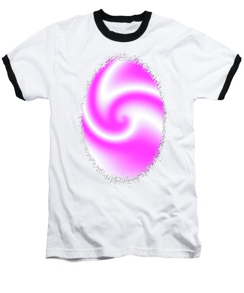Raspberry Ribbon Candy Fractal Baseball T-Shirt