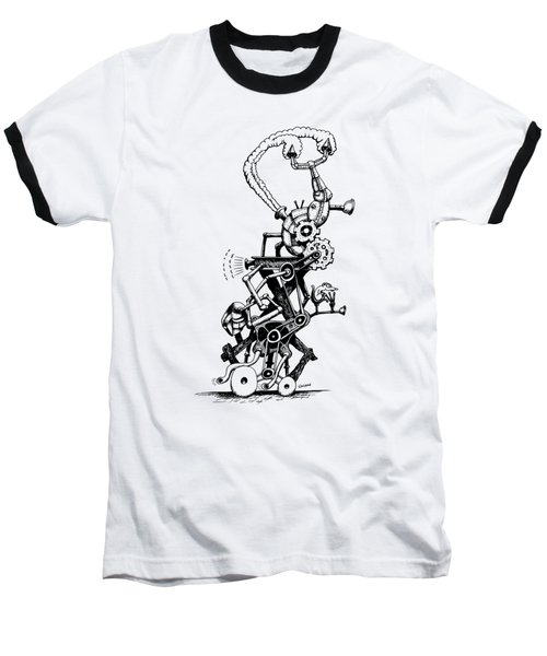 Baseball T-Shirt featuring the drawing Rat Reverse-cycle Steam Engine by Kim Gauge