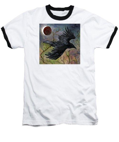 Raven In Twilight Baseball T-Shirt by FT McKinstry