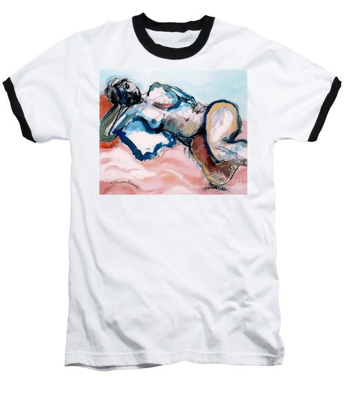 Reclining Multi-coloured Gestural Nude Baseball T-Shirt