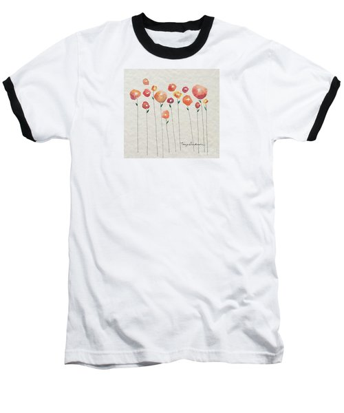 Red Abstract Floral Baseball T-Shirt