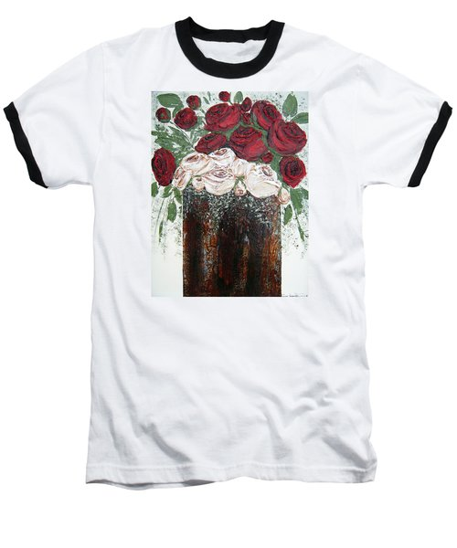 Red And Antique White Roses - Original Artwork Baseball T-Shirt