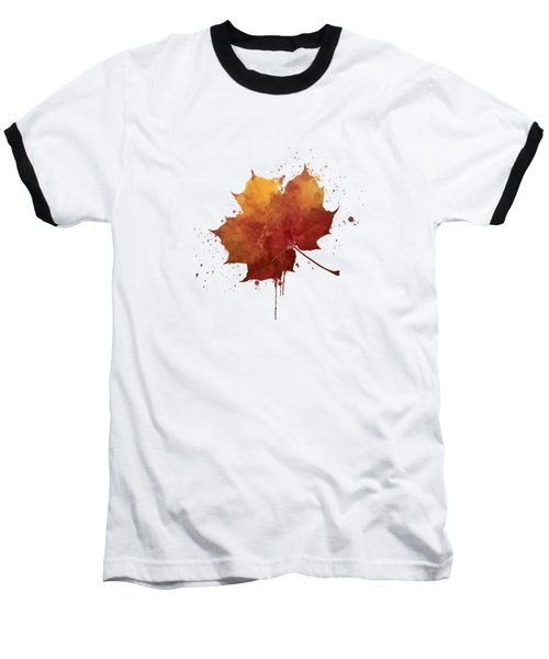 Red Autumn Leaf Baseball T-Shirt by Thubakabra