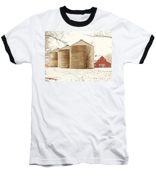 Red Barn In Snow Baseball T-Shirt