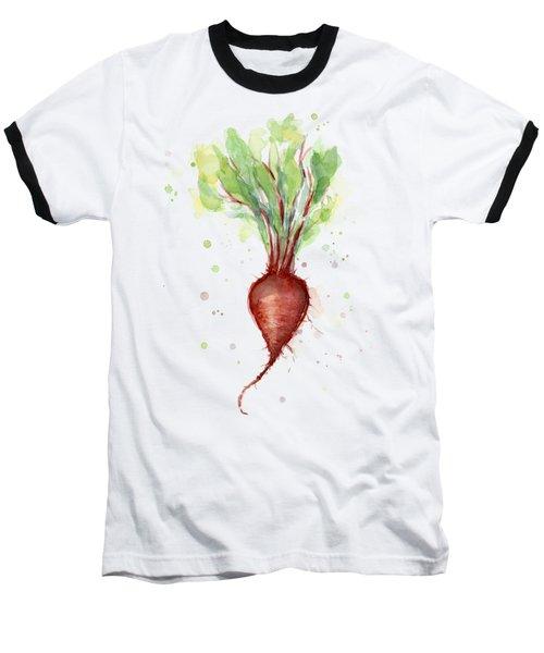 Red Beet Watercolor Baseball T-Shirt by Olga Shvartsur
