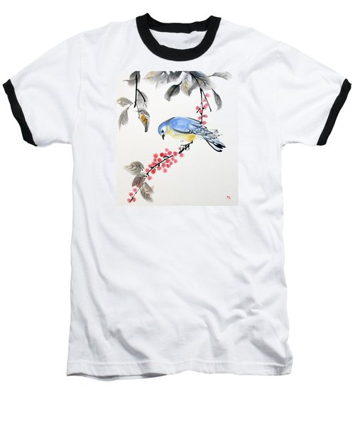 Red Berries Blue Bird Baseball T-Shirt
