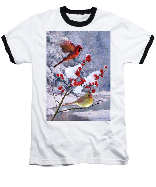 Red Birds Of Christmas Baseball T-Shirt