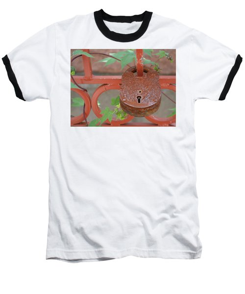 Baseball T-Shirt featuring the photograph Red Bridge Red Lock by Carolina Liechtenstein
