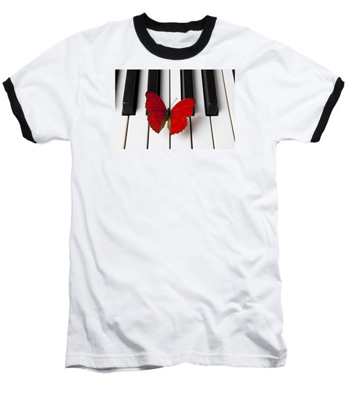 Red Butterfly On Piano Keys Baseball T-Shirt