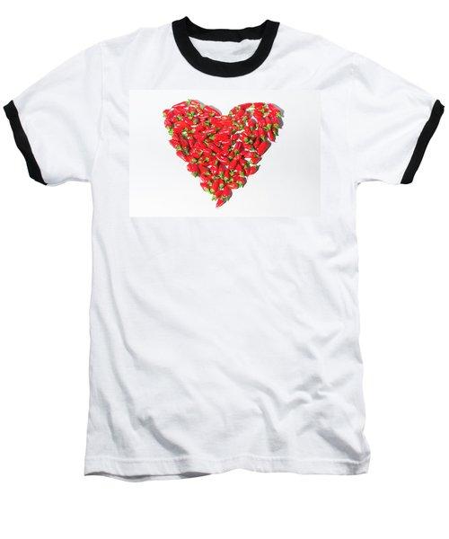 Red Chillie Heart II Baseball T-Shirt