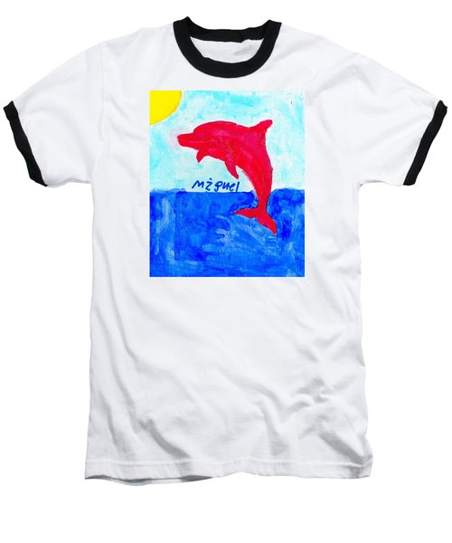 Red Dolphin Baseball T-Shirt by Artists With Autism Inc