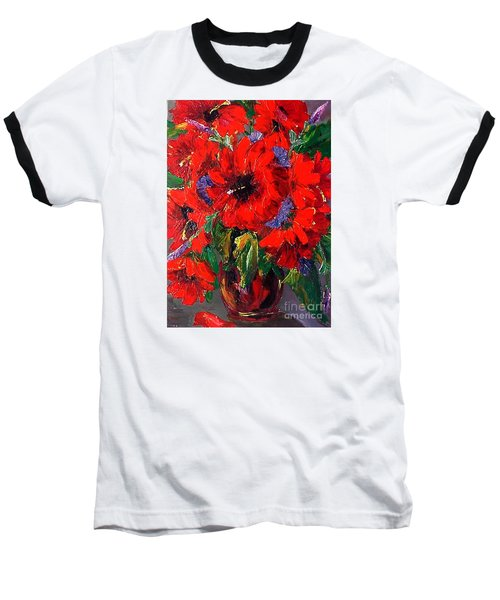 Red Floral Baseball T-Shirt
