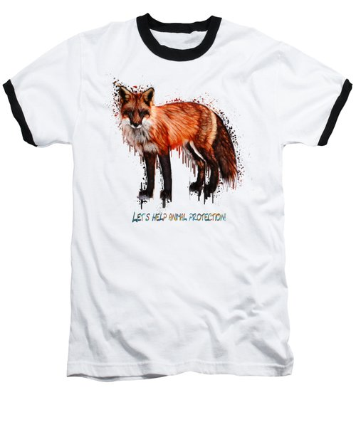 Red Fox In Tears Digital Painting Baseball T-Shirt