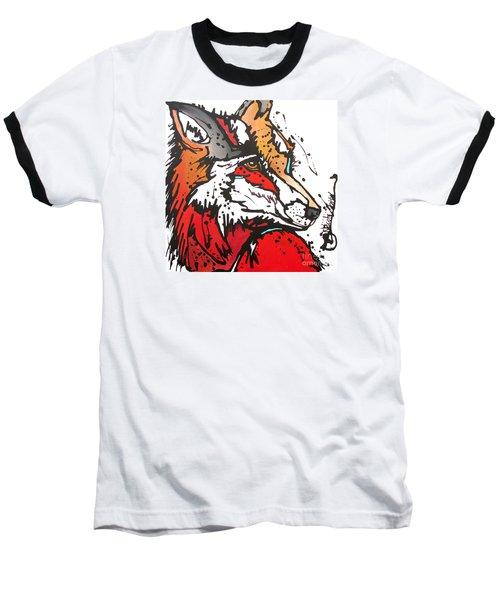 Red Fox Baseball T-Shirt by Nicole Gaitan